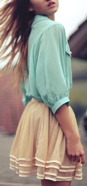 blouse mint delicate loose feminine