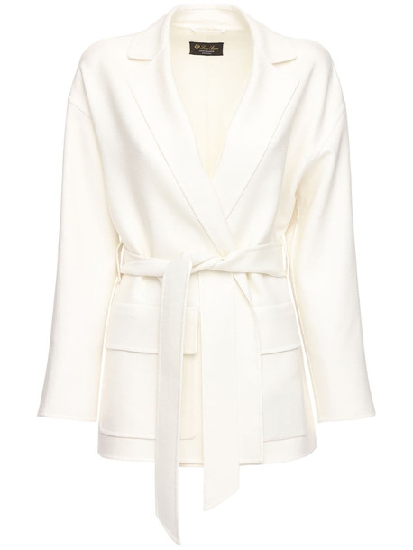 LORO PIANA Janelle Fluid Linen Jacket W/ Belt in white