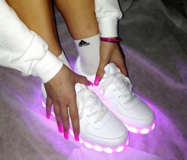 shoes, girls sneakers, glow in the dark