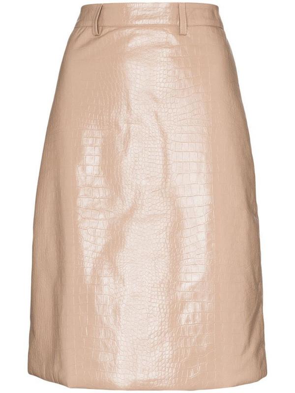 Dodo Bar Or crocodile-embossed pencil skirt in neutrals