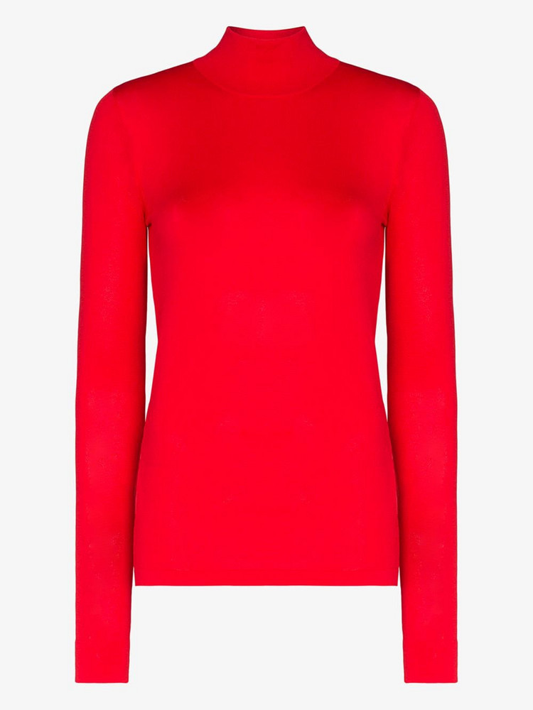 Les Reveries turtleneck knit top in red