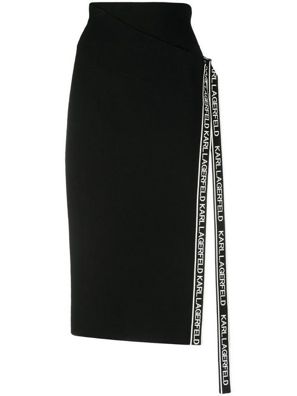 Karl Lagerfeld tape wrap knit skirt in black