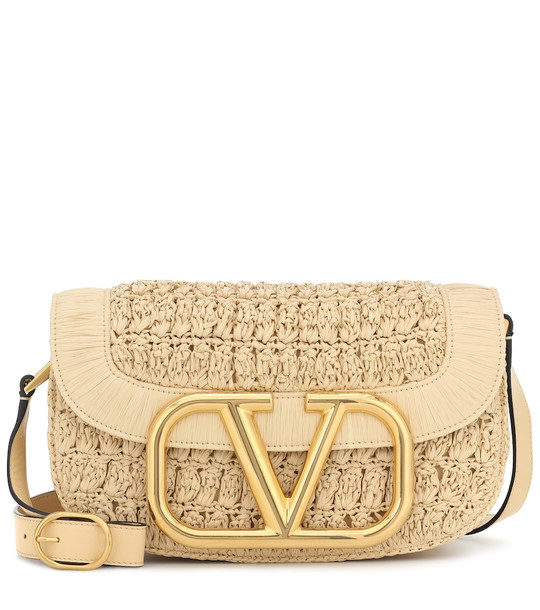 Valentino Garavani Supervee Medium raffia crossbody bag in beige