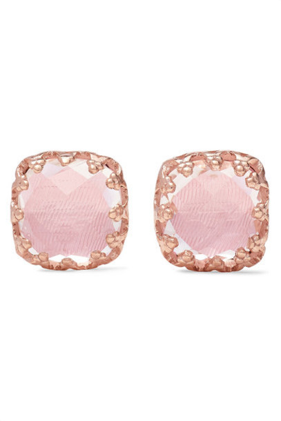 Larkspur & Hawk - Jane Small 18-karat Rose Gold-dipped Quartz Earrings