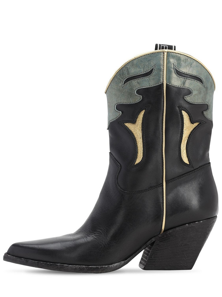 ELENA IACHI 70mm Leather Cowboy Boots in black / green