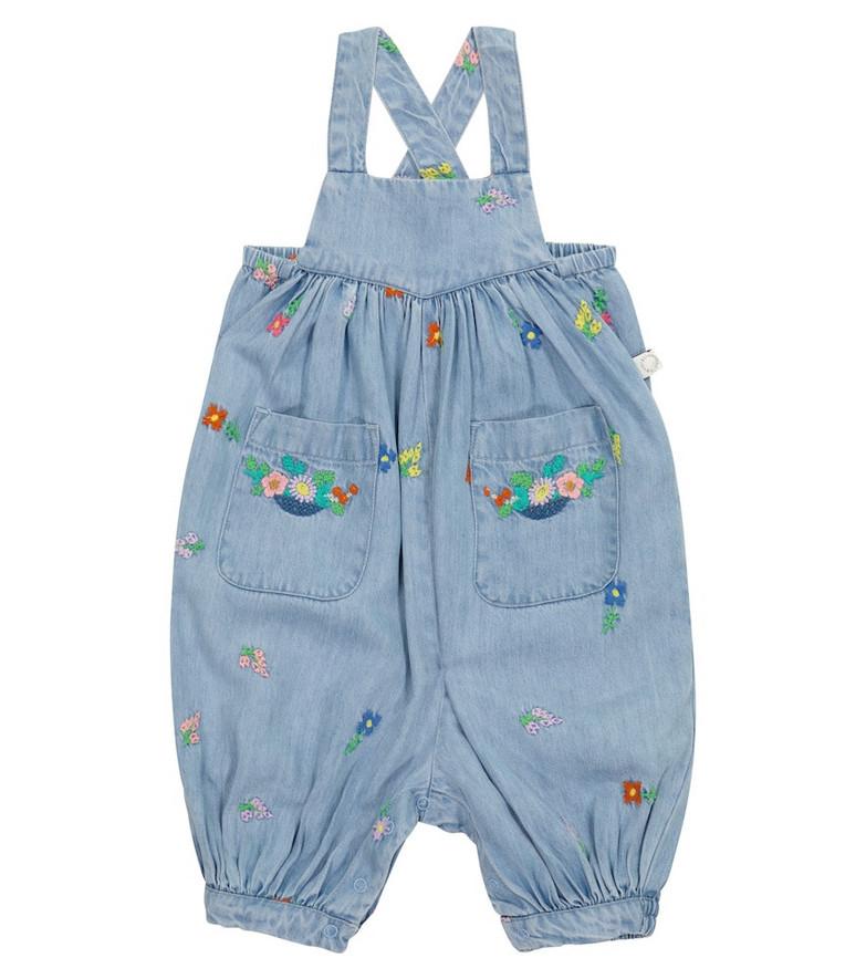 Stella McCartney Kids Baby embroidered denim overalls in blue