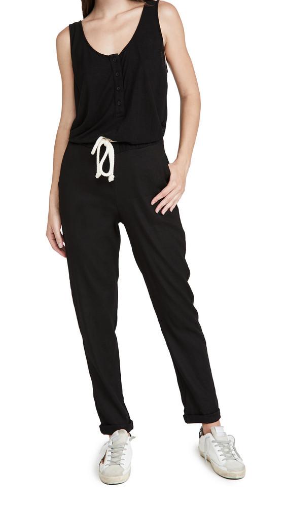 MONROW Linen Knit Woven Jumpsuit in black