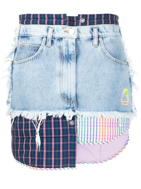 Natasha Zinko patchwork denim skirt in blue