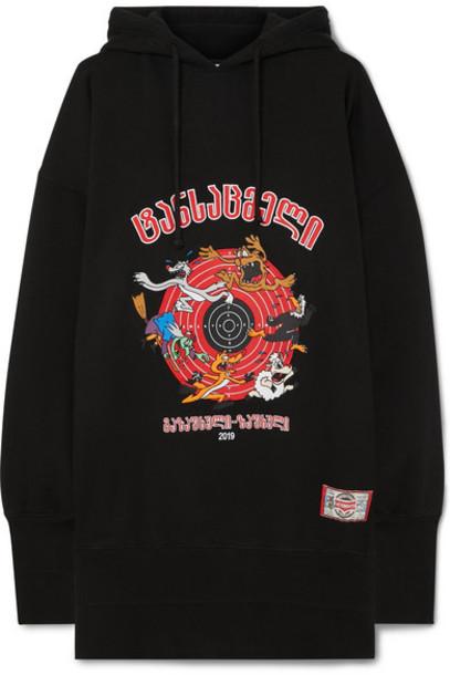 Vetements - Cartoon Oversized Embroidered Cotton-jersey Hoodie - Black
