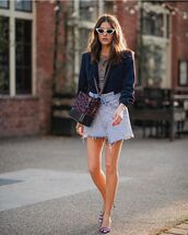 skirt,denim skirt,wrap skirt,pumps,blazer,t-shirt,crossbody bag