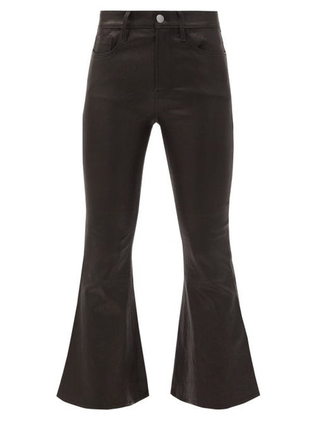 Frame - Cropped Kick-flare Leather Trousers - Womens - Black