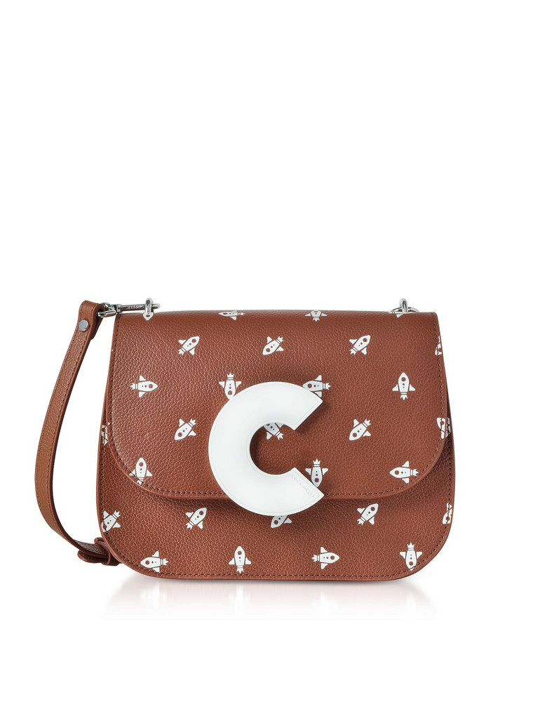 Coccinelle Craquante Razzo Printed Leather Shoulder Bag in brown
