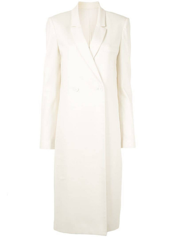 LAPOINTE double breasted twill coat in white