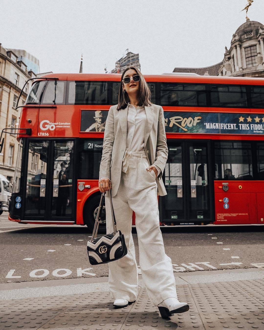 pants wide-leg pants high waisted pants white boots blazer white shirt black and white gucci bag bag