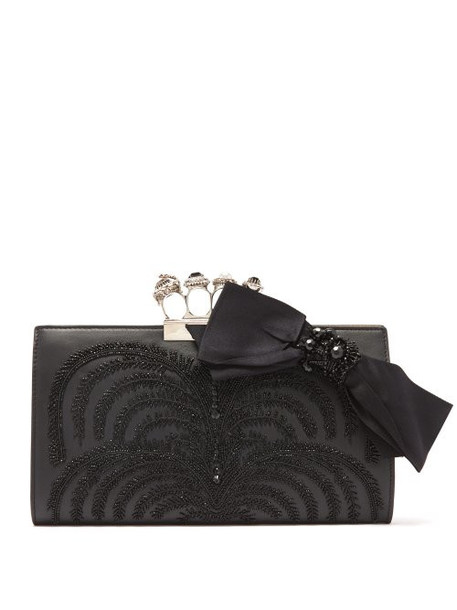 Alexander Mcqueen - Knuckle Beaded Leather Clutch Bag - Womens - Black