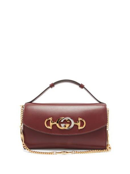 Gucci - Zumi Mini Logo Plaque Leather Cross Body Bag - Womens - Burgundy