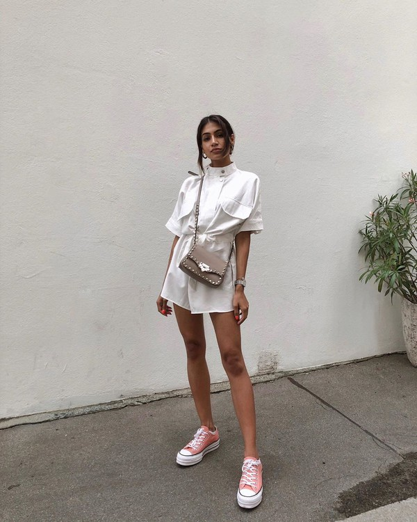 romper white romper short sleeve converse sneakers crossbody bag