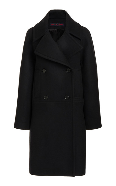 Martin Grant Wool-Blend Pea Coat in black