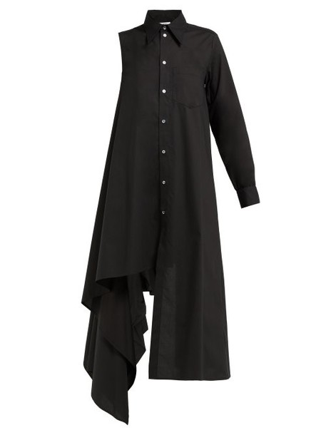 Mm6 Maison Margiela - One Sleeve Cotton Shirtdress - Womens - Black