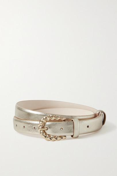 BLACK & BROWN - Sarah Metallic Leather Belt - Gold
