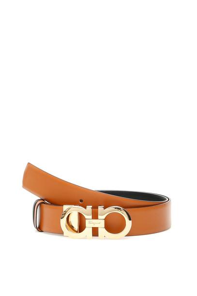 Salvatore Ferragamo Reversible Double Gancio Belt in black / brown