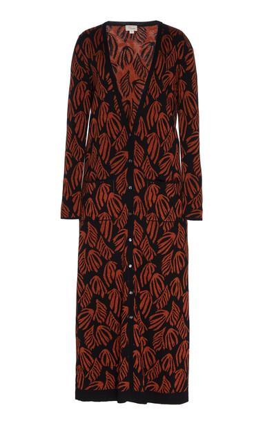 Temperley London Benita Cotton Jacquard-Knit Long Cardigan Size: XS in black
