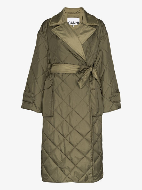GANNI diamond quilted jacket in green