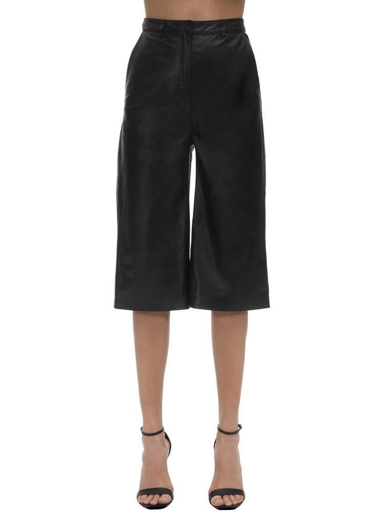 IN THE MOOD FOR LOVE Cropped Leather Wide Leg Pants in black