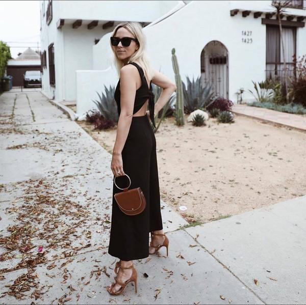 jumpsuit black jumpsuit sandals brown bag club monaco black sunglasses