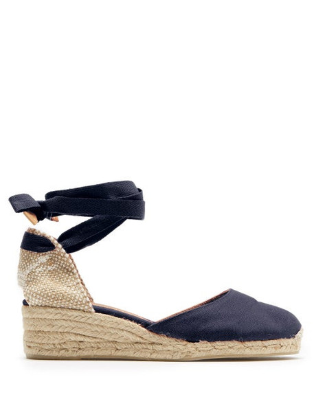 Castañer - Carina 30 Canvas & Jute Espadrille Wedges - Womens - Navy