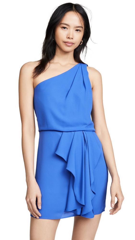 Halston Heritage One Shoulder Drape Dress in azure