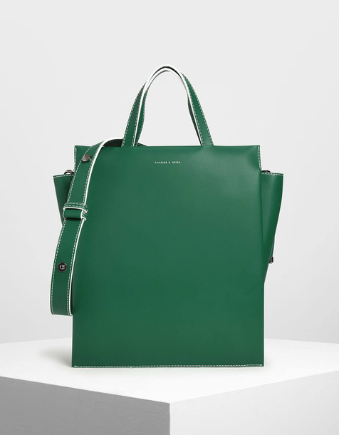 Double Handle Chain Link Tote Bag in green