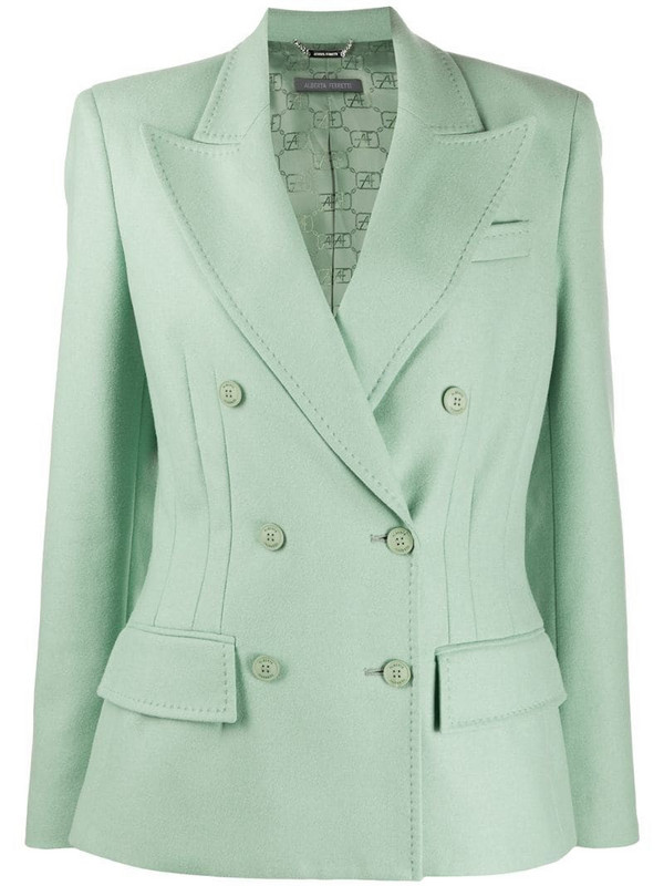 Alberta Ferretti long-sleeved dart detail blazer in green