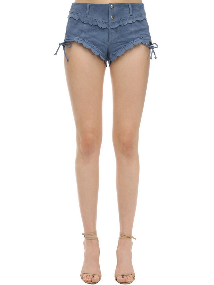 ISABEL MARANT Aleixo Suede Hot Pants in blue
