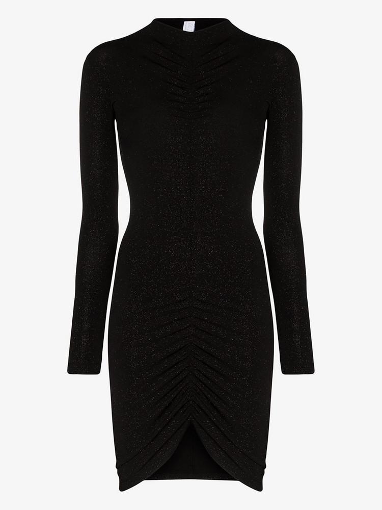 Fantabody Drape detail glitter mini dress in black