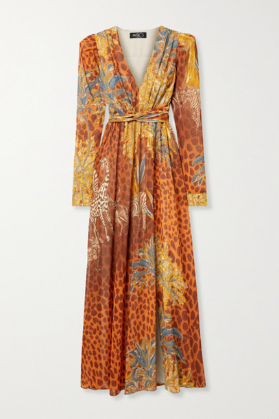 PatBO - Margot Printed Chiffon Maxi Dress - Orange
