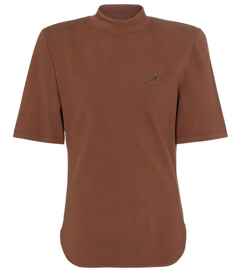 The Attico Tessa cotton jersey T-shirt in brown