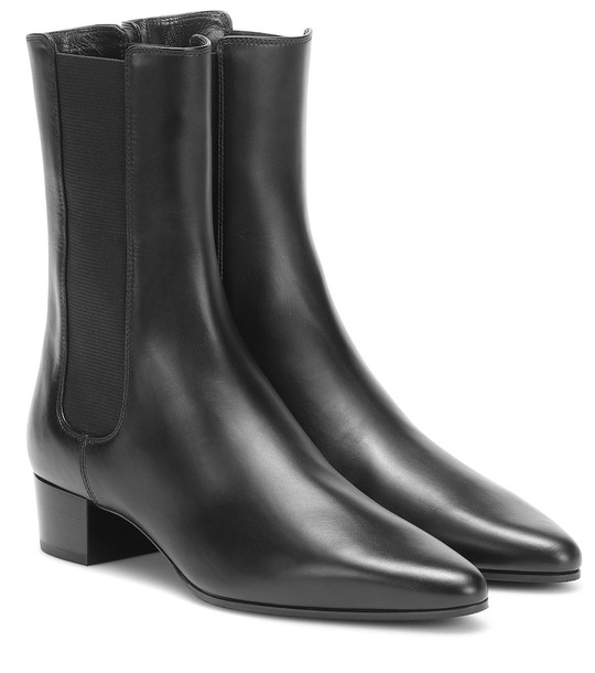 The Row British leather ankle boots in black
