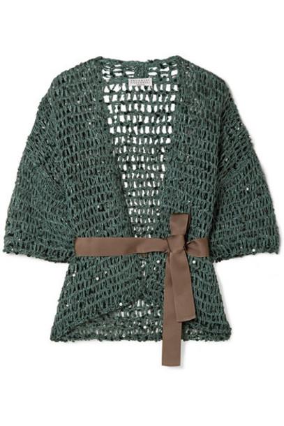 Brunello Cucinelli - Belted Sequin-embellished Open-knit Cardigan - Petrol