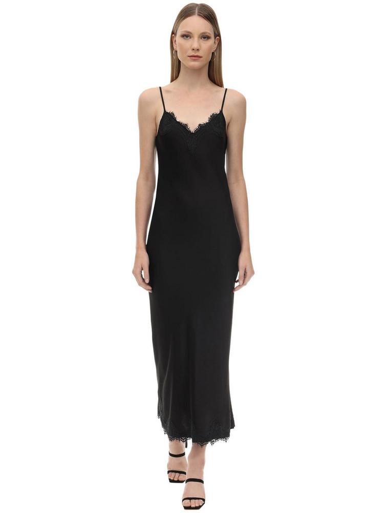 PINK MEMORIES Long Viscose Satin & Lace Dress in black