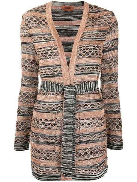 Missoni knitted tie-waist cardi-coat in black