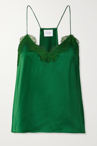 Cami NYC - Lace-trimmed Silk-charmeuse Camisole - Dark green