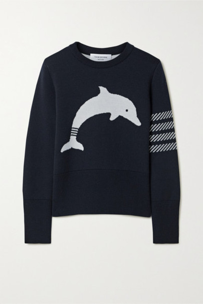 Thom Browne - Button Detailed Striped Intarsia Wool-blend Sweater - Navy