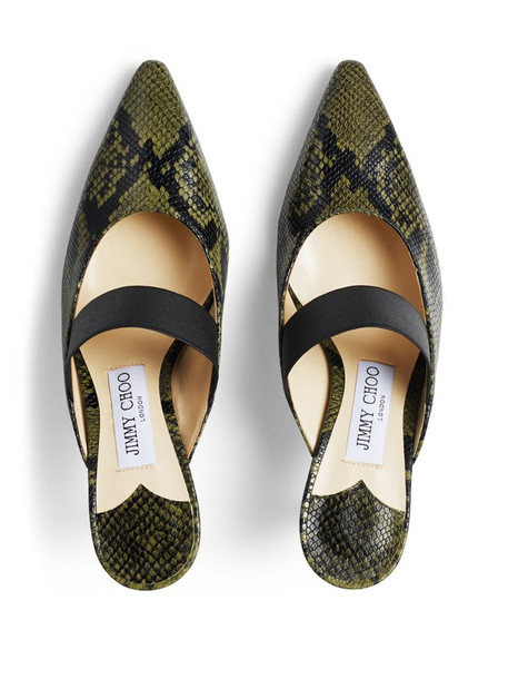 Jimmy Choo snake print 70mm slip-on pumps in green