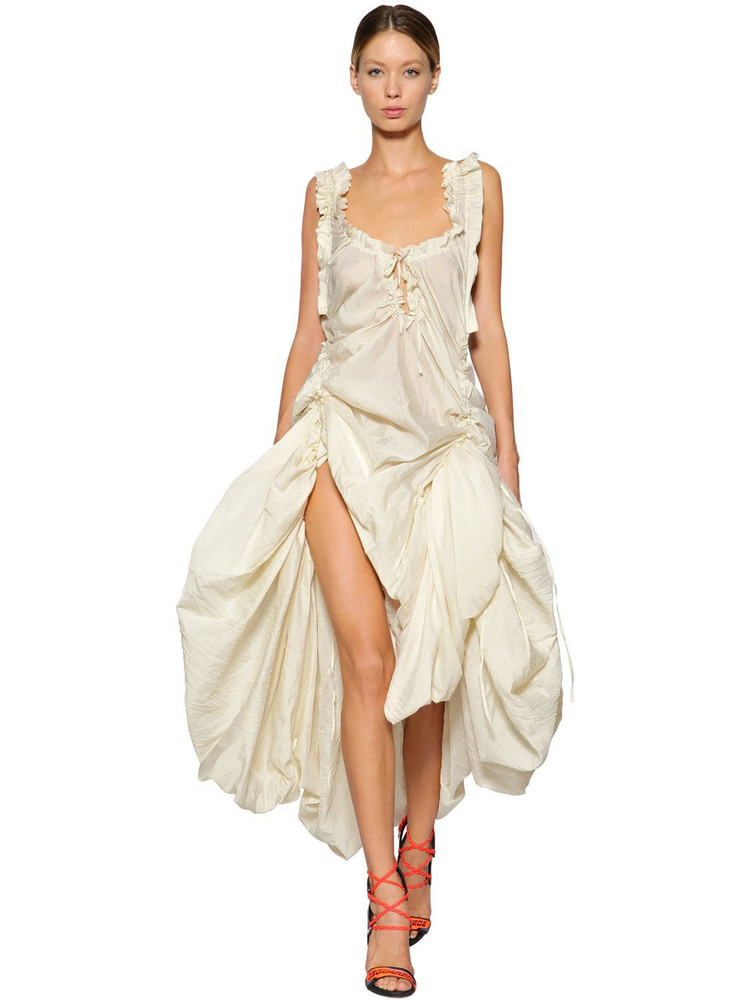 DSQUARED2 Adjustable Draped Silk Voile Dress in white