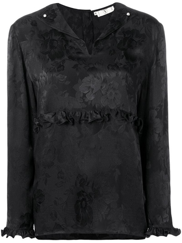 Valentino Pre-Owned 1980's rose print blouse in black