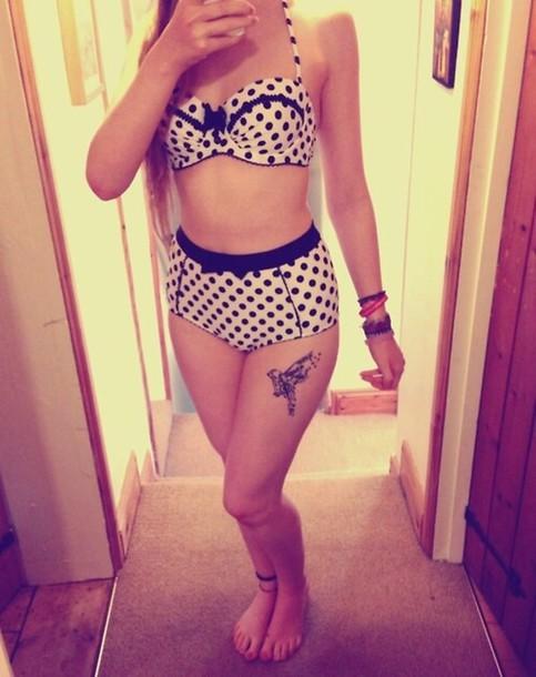 swimwear black and white dots print
