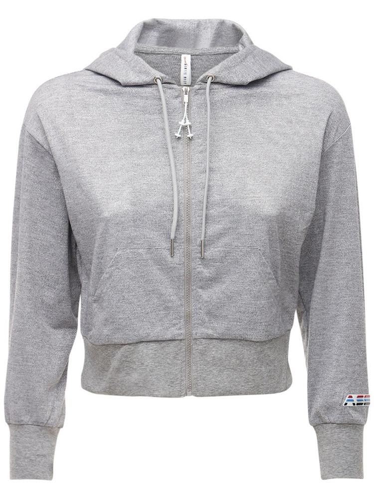 ADAM SELMAN SPORT Crop Lurex Jersey Hoodie in grey