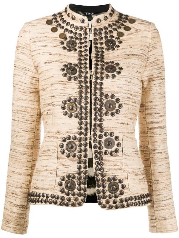 Bazar Deluxe jacquard embellished jacket in brown