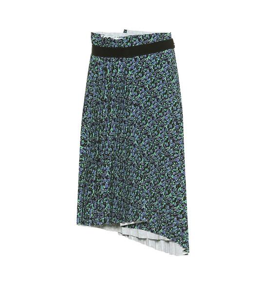 Balenciaga Pleated asymmetric midi skirt in blue